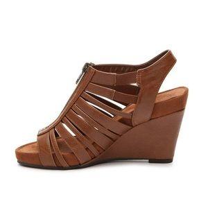 Aerosoles Women's Brown Strappy Wedge Sandals 10